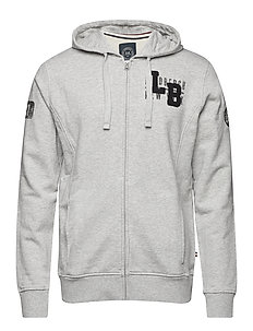 Applicated zip sweat - GREY MEL