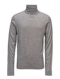 Merino knit roll-neck - LT GREY MIX