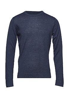 Merino knit o-neck - NAVY MIX