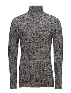 Roll neck rib knit - GREY TWIST