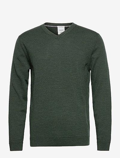 100 % merino v-neck knit - basic strik - dk army mel