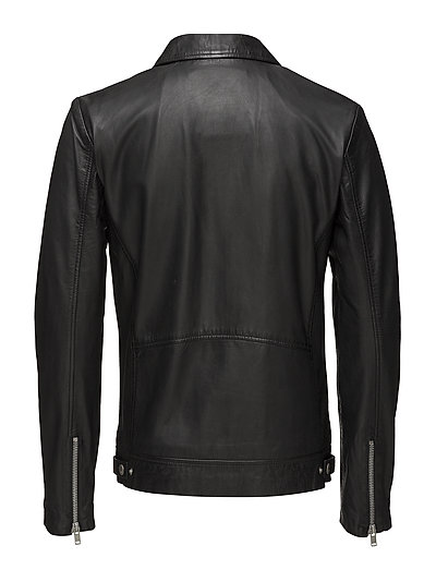 Leather jacket w/ zip pockets - BLACK