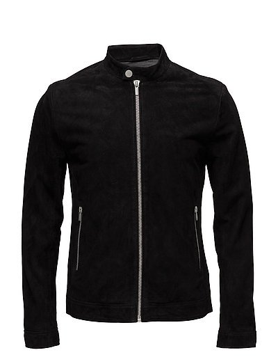 Suede jacket w/stand-up collar - BLACK