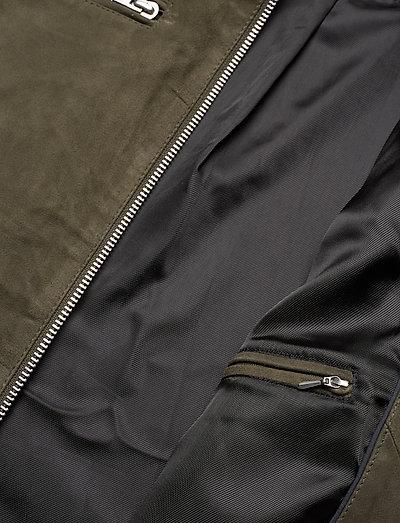 Lindbergh Goat Suede Biker Jacket- Kurtki I Płaszcze Olive
