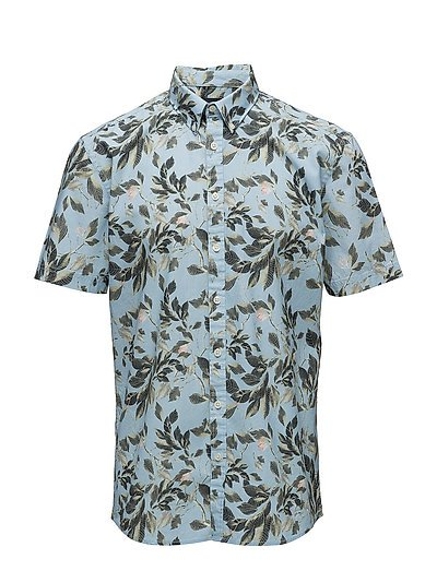 Floral printed shirt S/S - BLUE