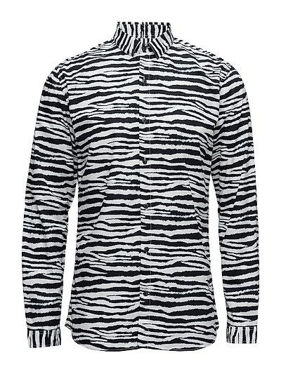 ZebraprintedshirtL/S - BLACK