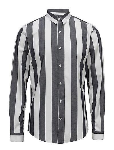 Wide striped shirt L/S - BLACK