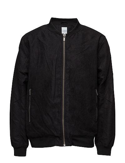 Imitated suede jacket - BLACK