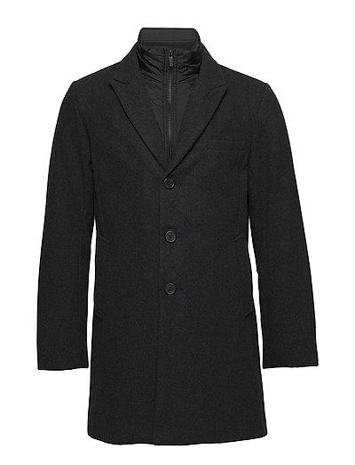 Solid wool coat - CHARCOAL