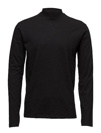 Low turtle-neck tee L/S - BLACK