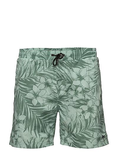Swim shorts w. tropic print - MIST GREEN