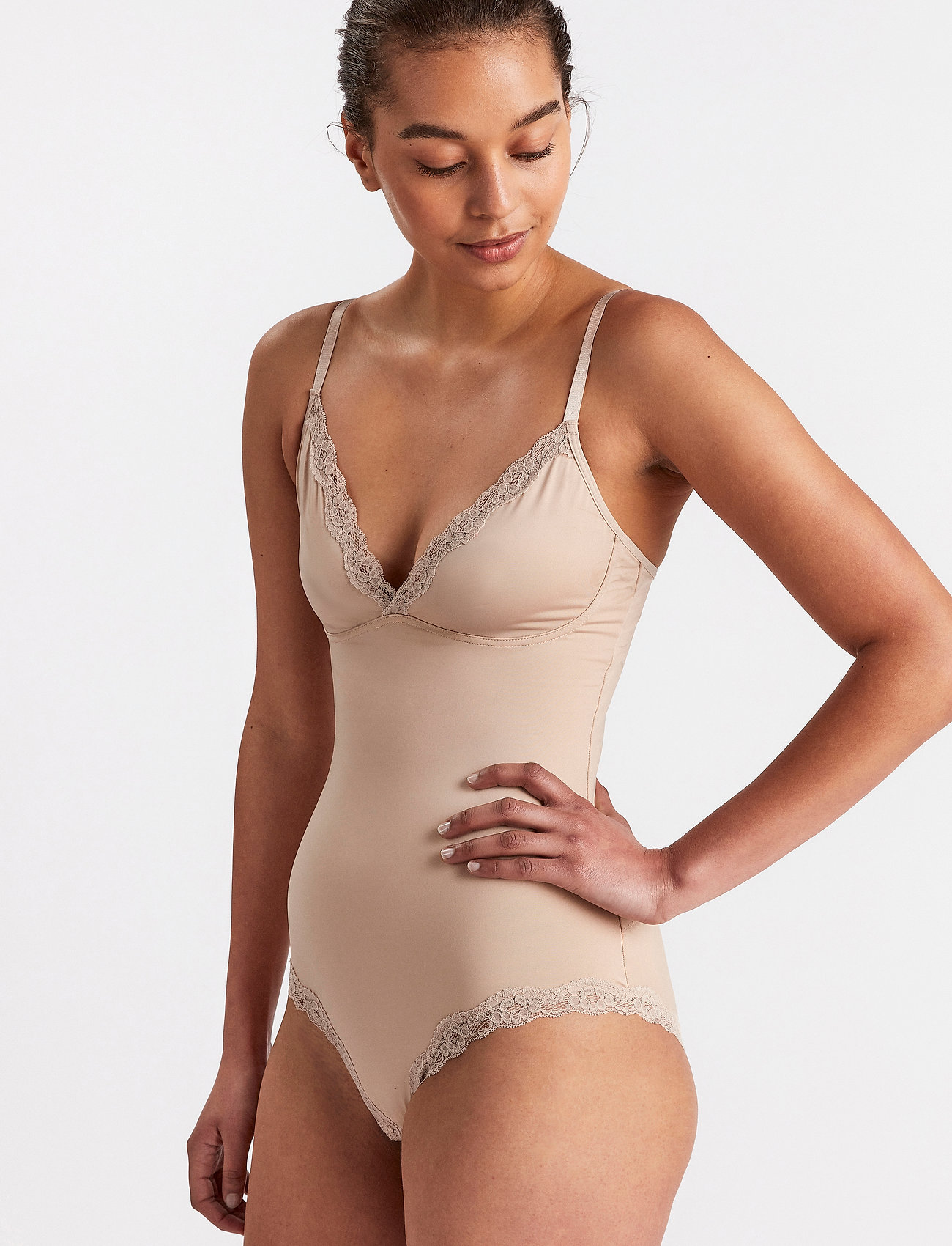 Lindex - Shaping Body Sandra Lace - toppe - beige - 0
