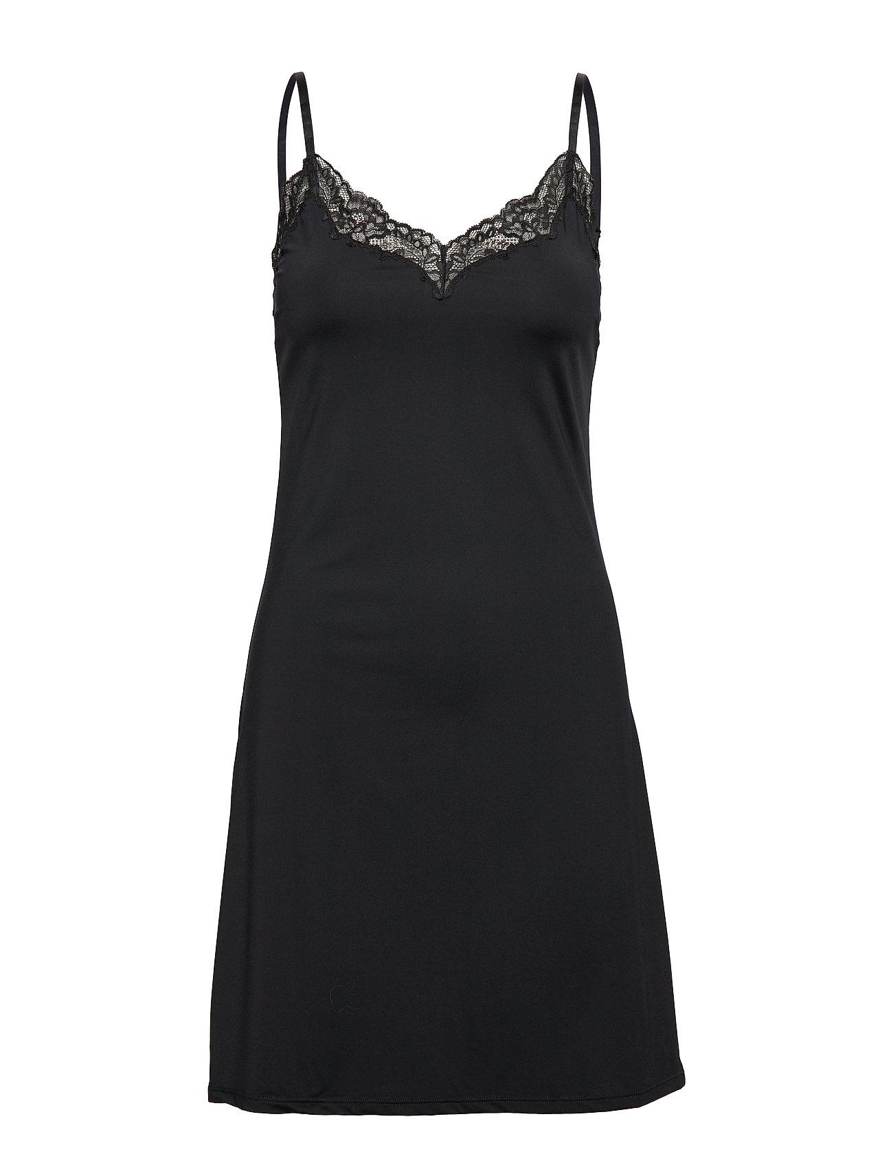 Slip Dress Micro W Lace Trim A Nattøj Sort Lindex