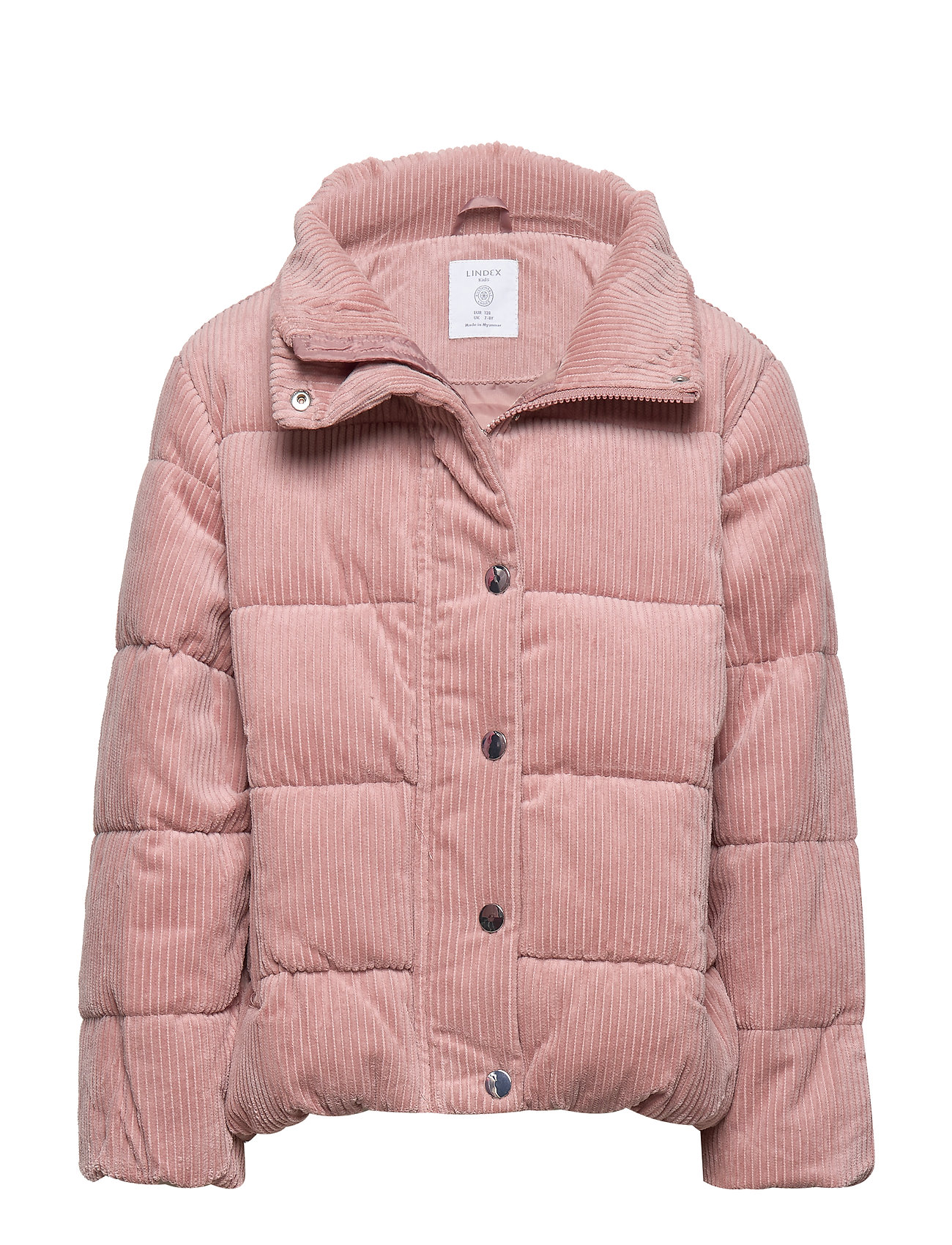 Lindex Patterned puffer jacket with fake fur - DUSTY PINK