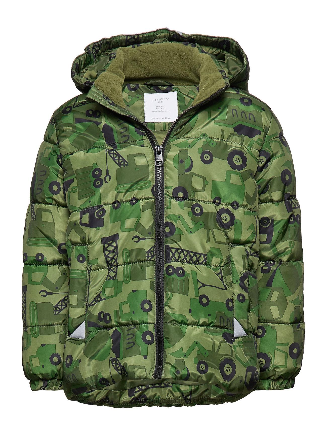 Lindex Green puffer jacket with excavators - DARK GREEN
