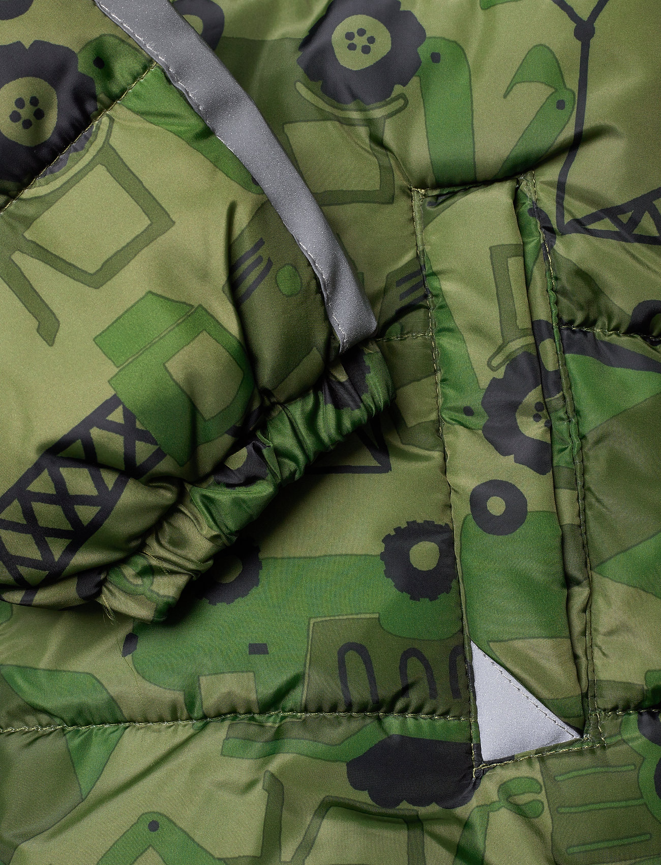 Lindex Green Puffer Jacket With Excavators - Jackor Dark