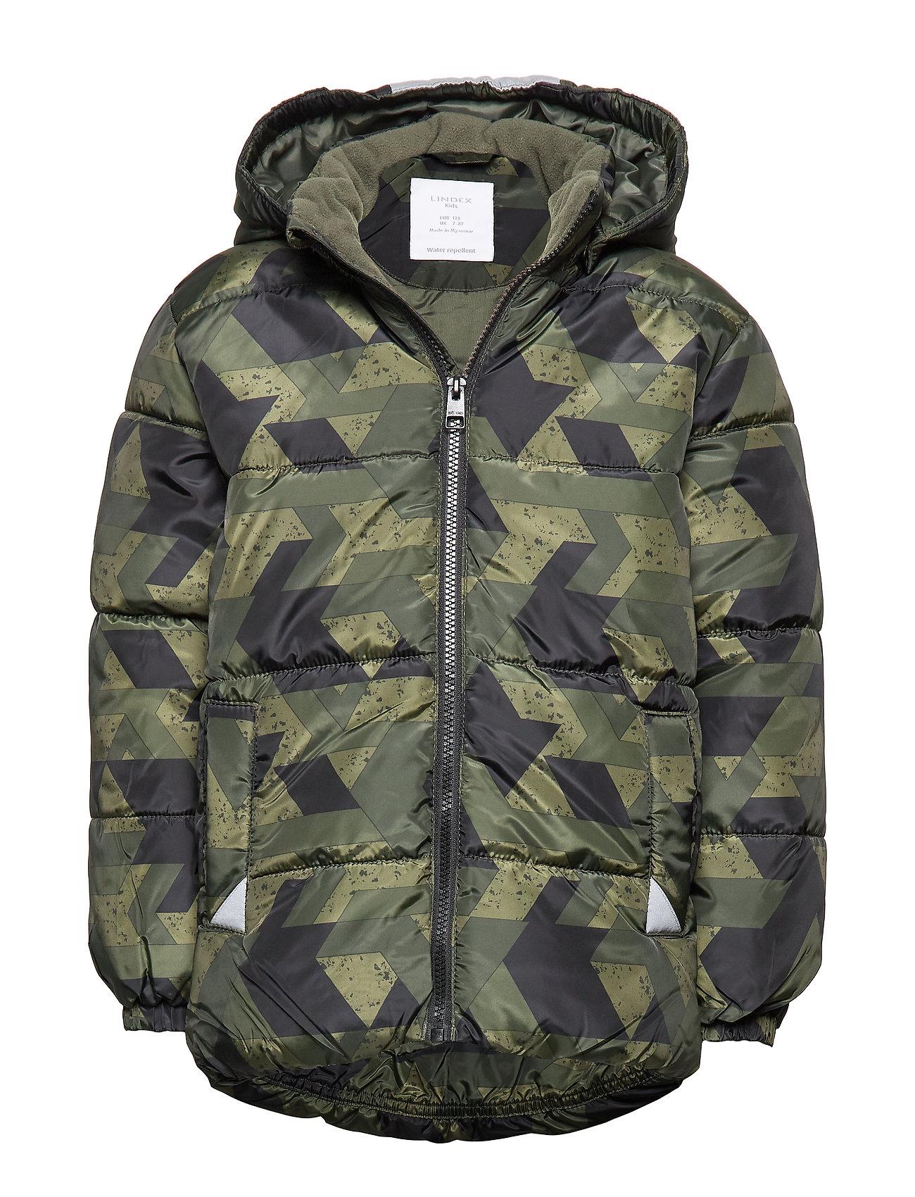 Lindex Padded jacket with reflective fabric - DK KHAKI GREEN