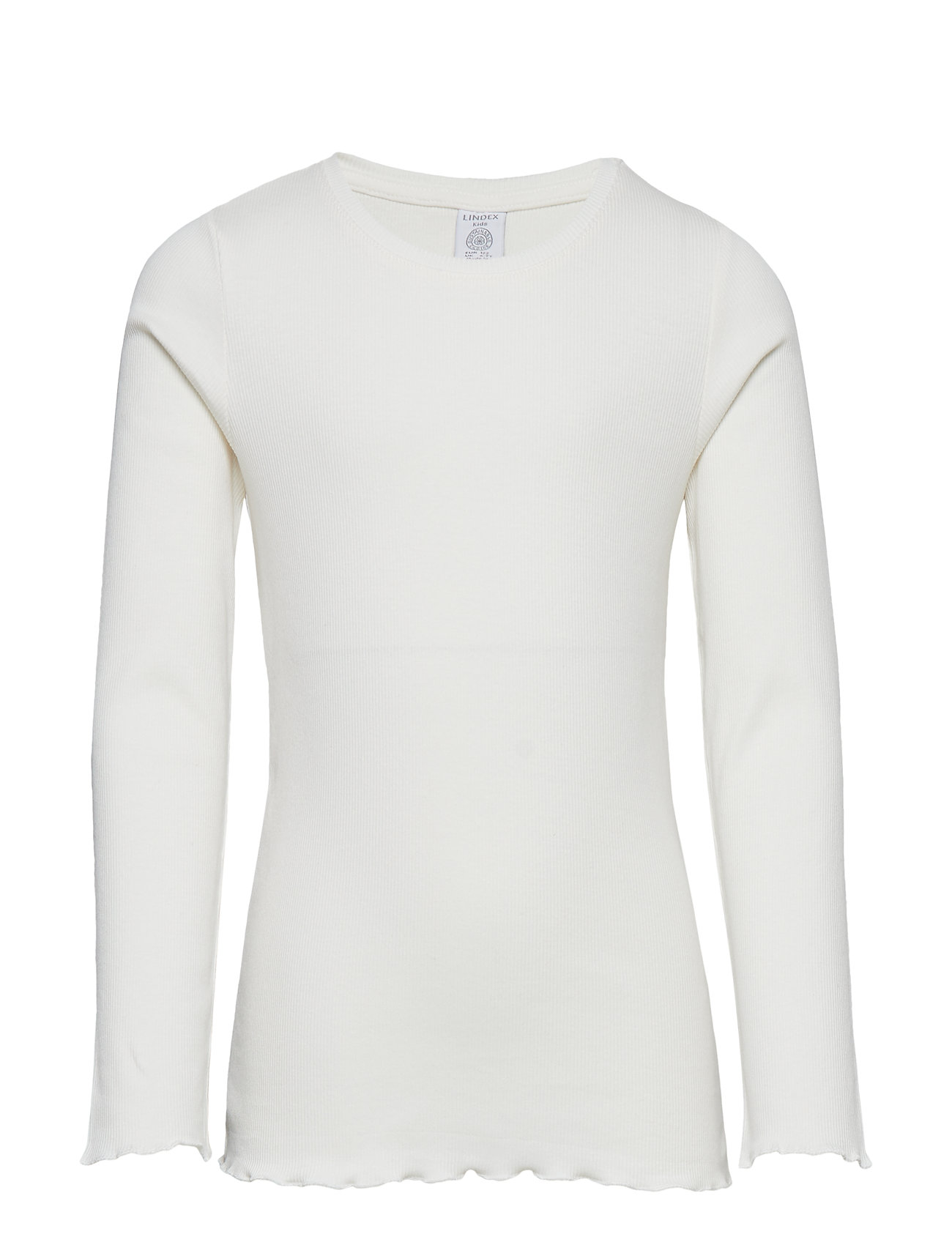 Lindex Ribbed long sleeve top - LIGHT DUSTY WHITE
