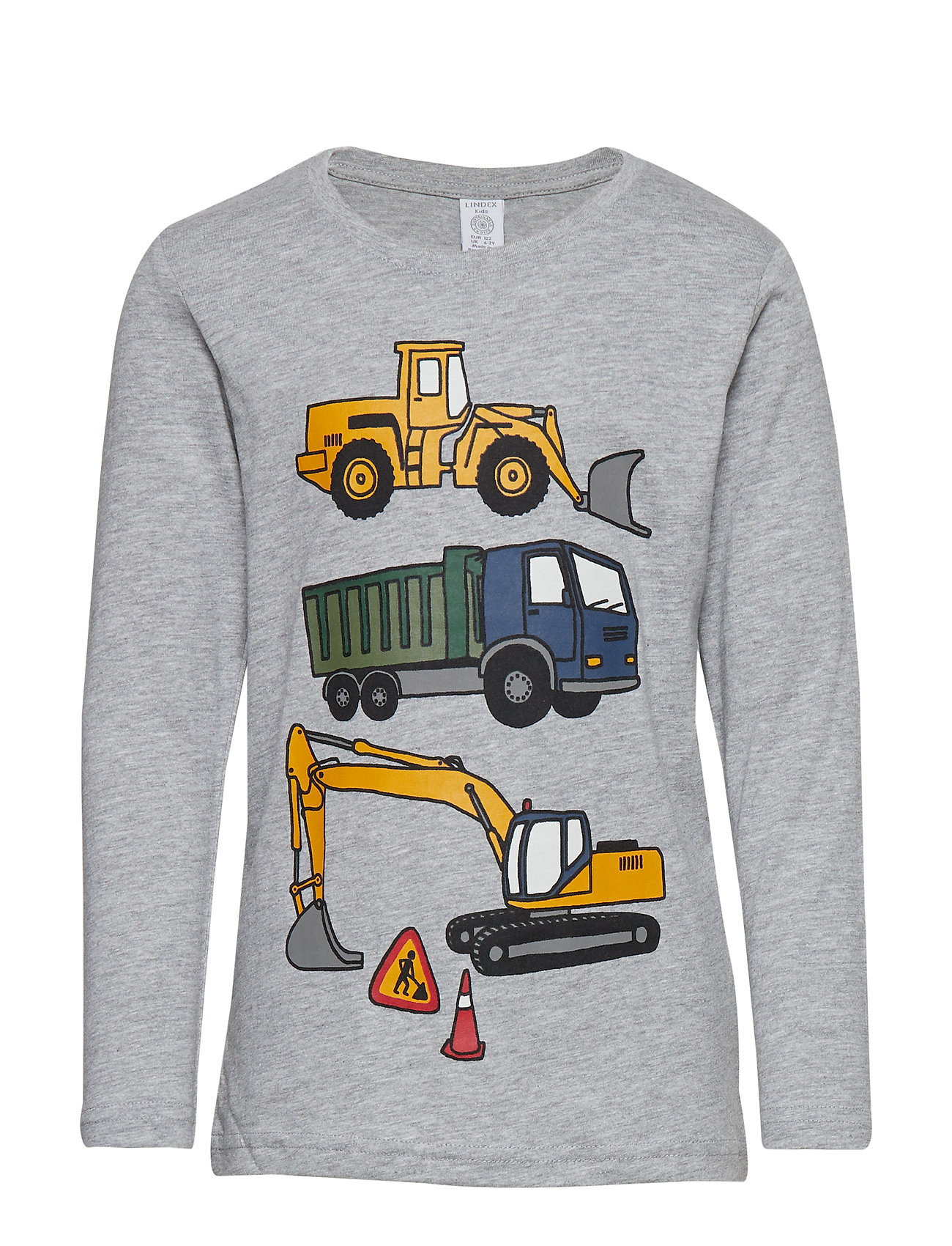 Lindex Grey melange top with vehicle print - GREY MELANGE
