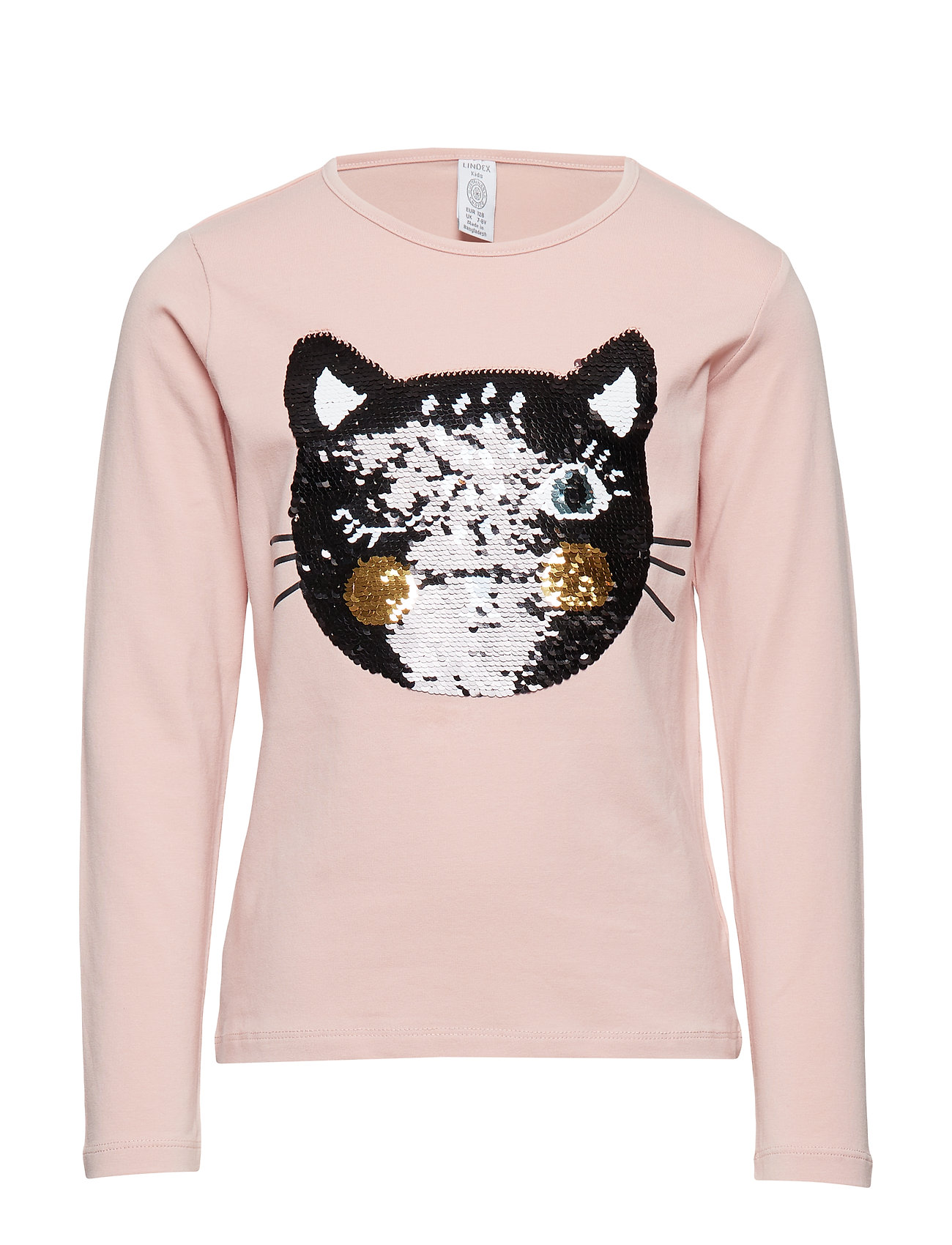 Lindex Pink top with cat in reversible sequins - DUSTY PINK