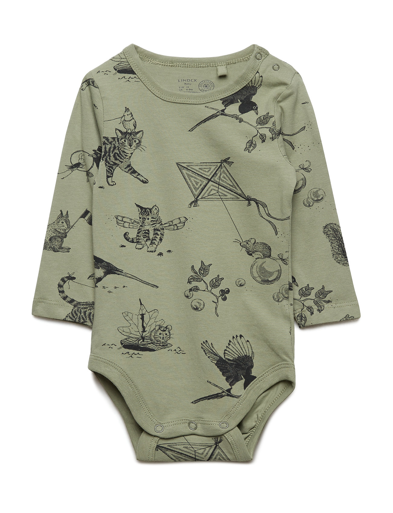 Lindex Long sleeve bodysuit with cat pattern - DUSTY GREEN