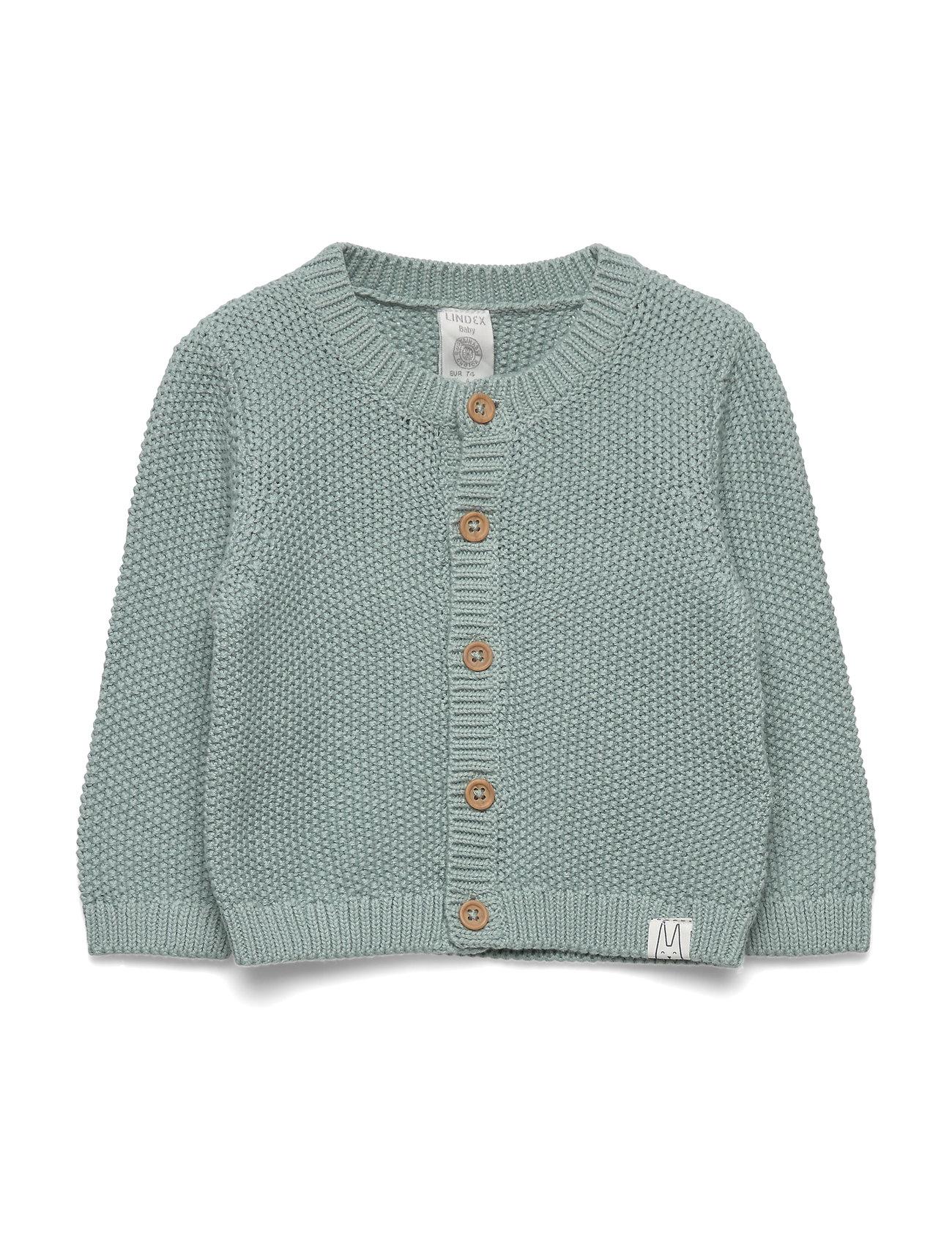 Lindex Cardigan moss knit - LIGHT DUSTY AQUA