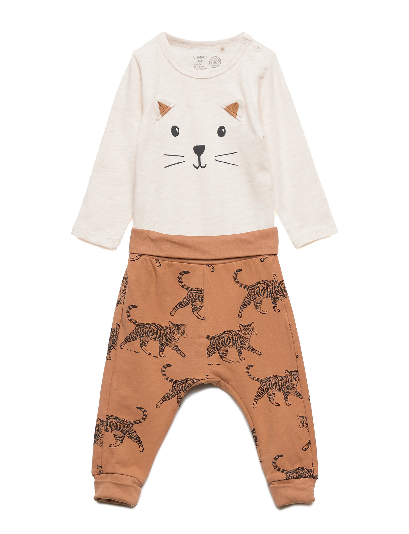 Lindex Set with bodysuit and trousers with cat motif - LIGHT BEIGE MELANGE