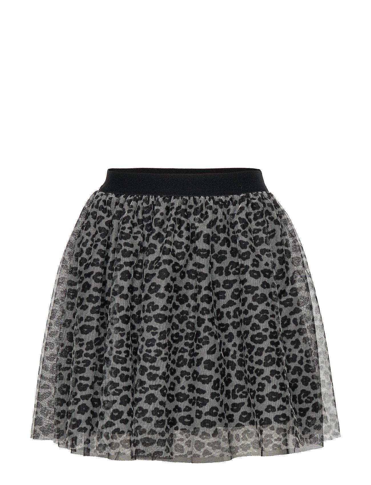 Lindex Mesh skirt with leo print - LIGHT BEIGE