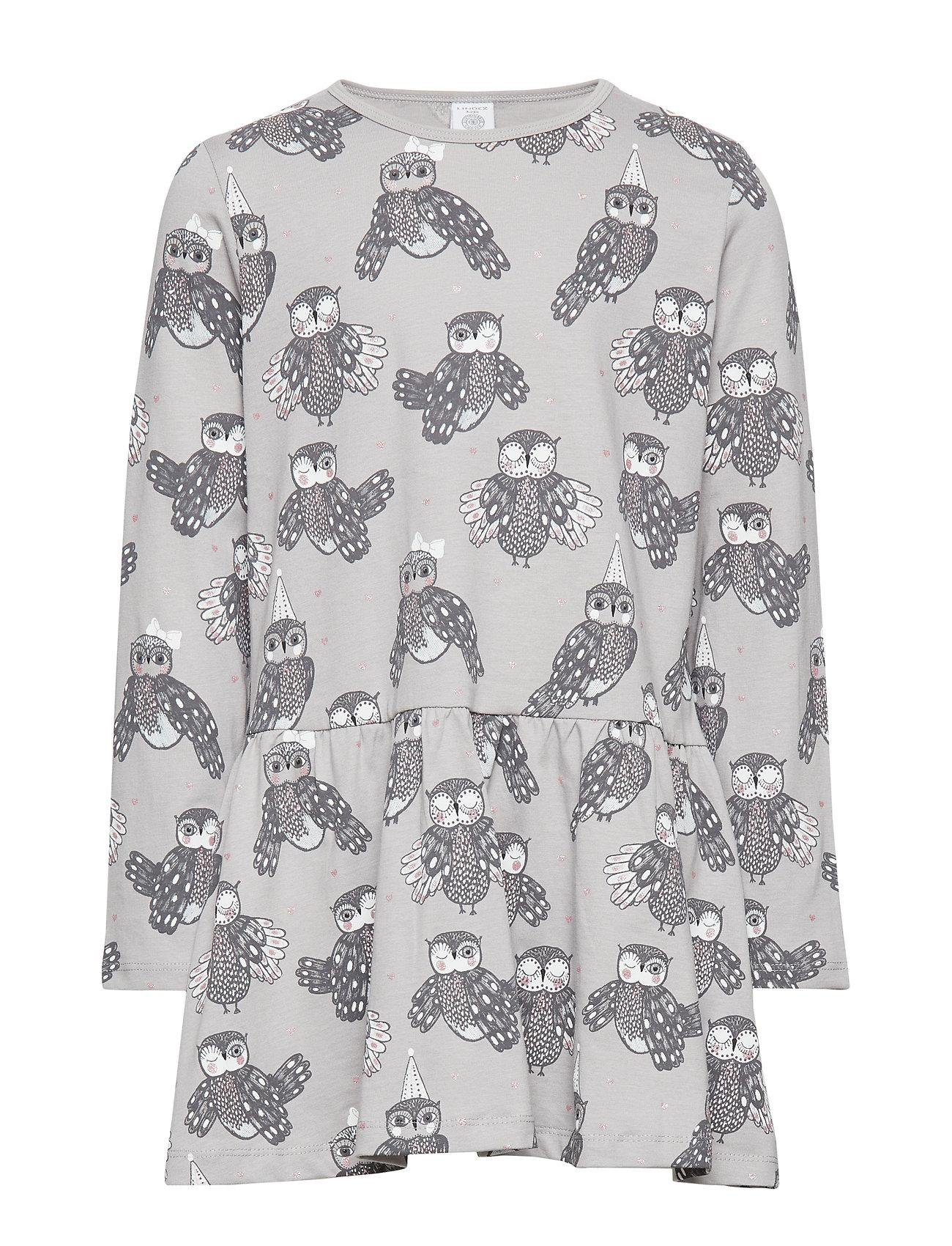 Lindex Grey long sleeve tunic with owl pattern - LIGHT GREY