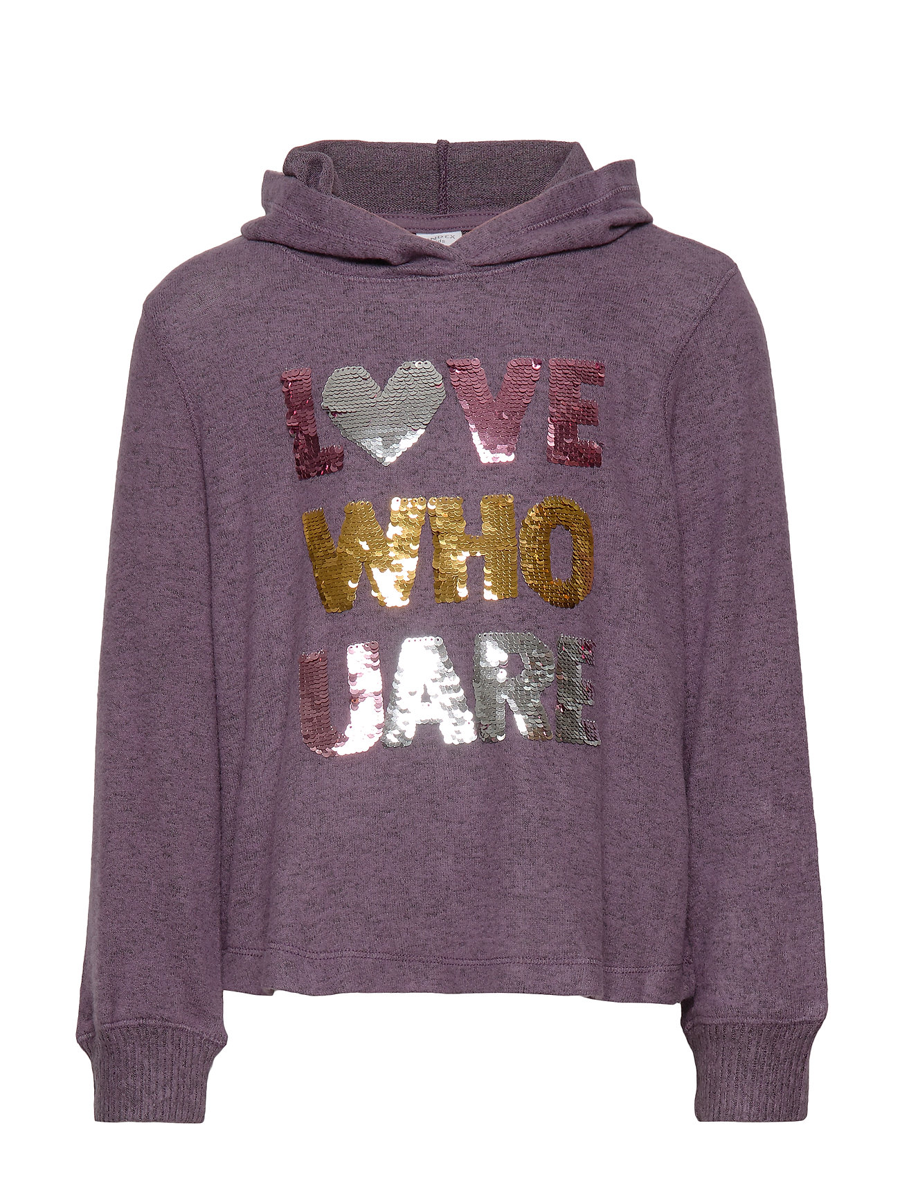 Lindex Hooded sweater with front decoration - DARK LILAC MELANGE