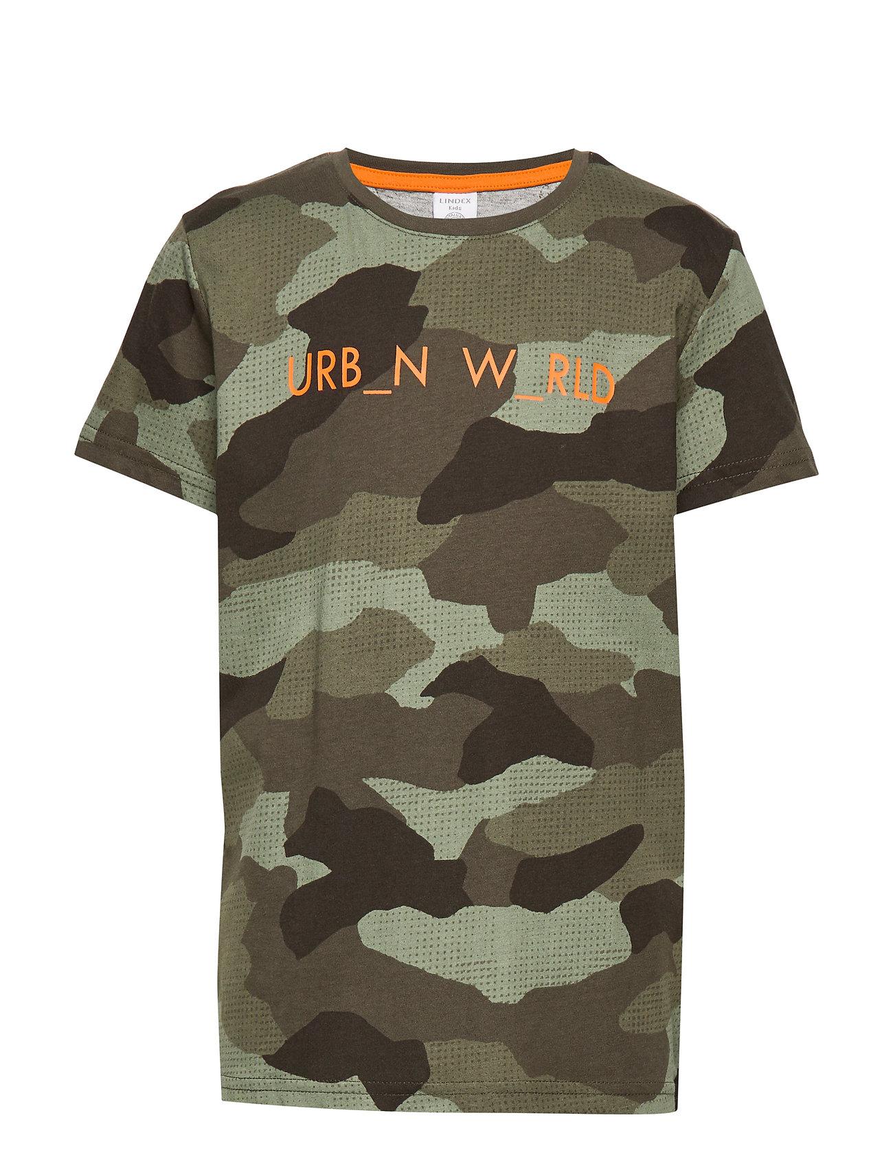 Lindex T shirt street aop urbn wrld - DK KHAKI GREEN