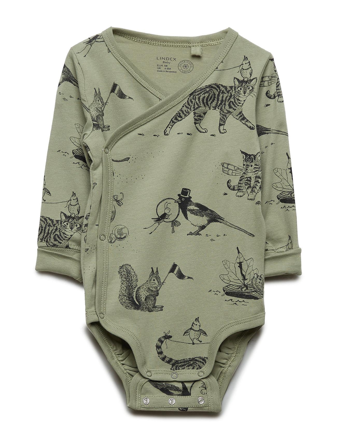 Lindex Wrap bodysuit with animal pattern - DUSTY GREEN