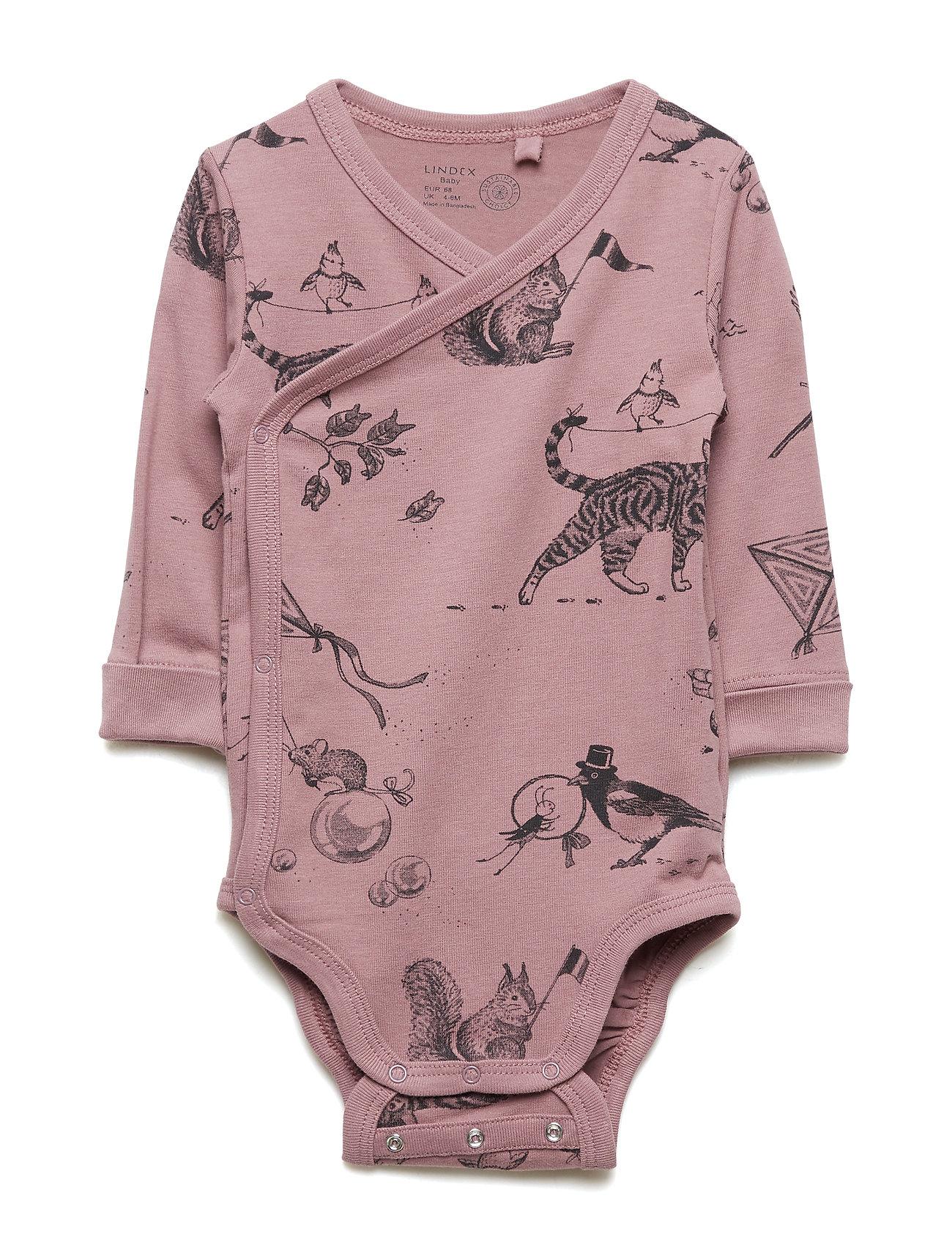 Lindex Wrap bodysuit with animal pattern - DUSTY LILAC