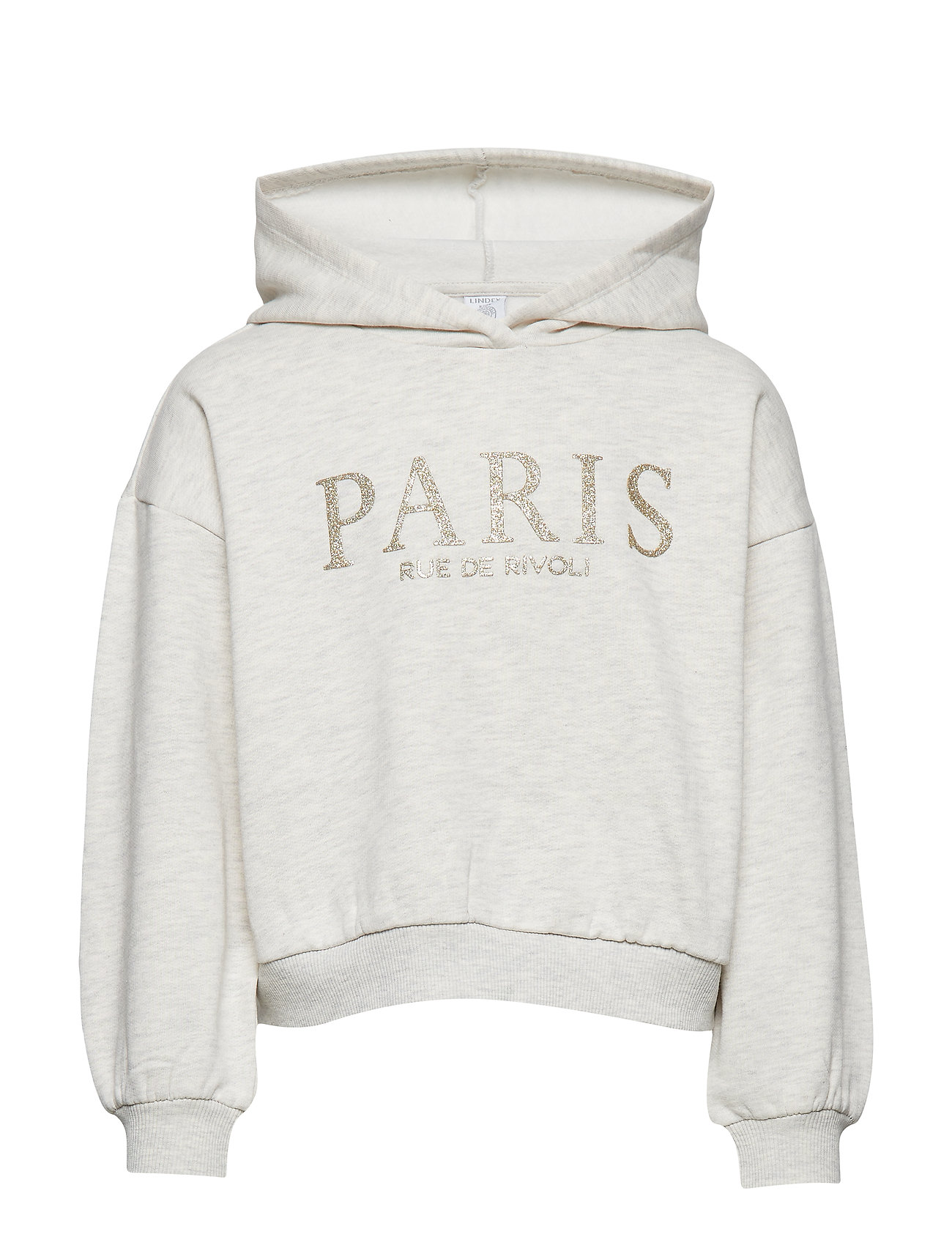 Lindex Hooded sweater with glittery Paris print - OFF WHITE