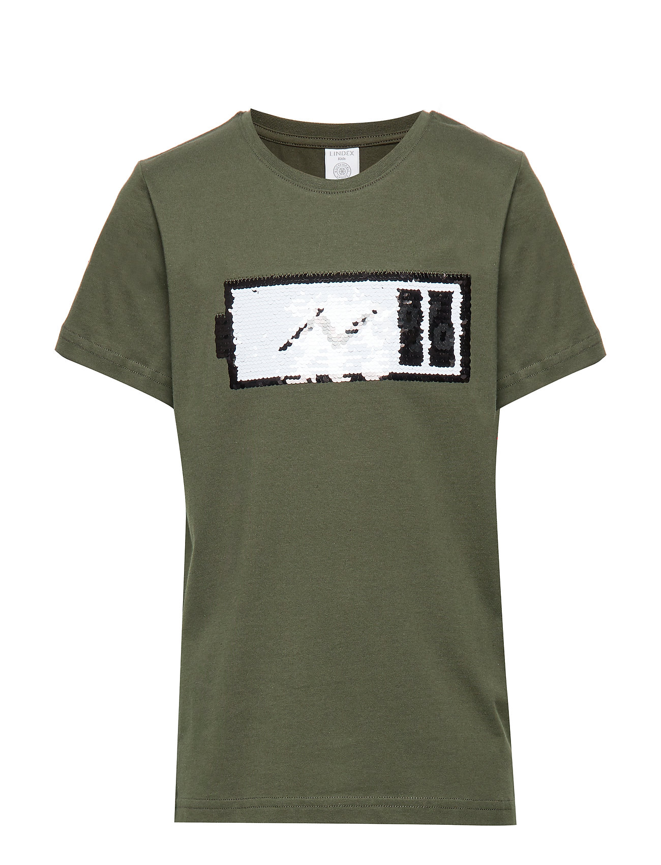 Lindex Green t-shirt with reversible sequins - DK KHAKI GREEN