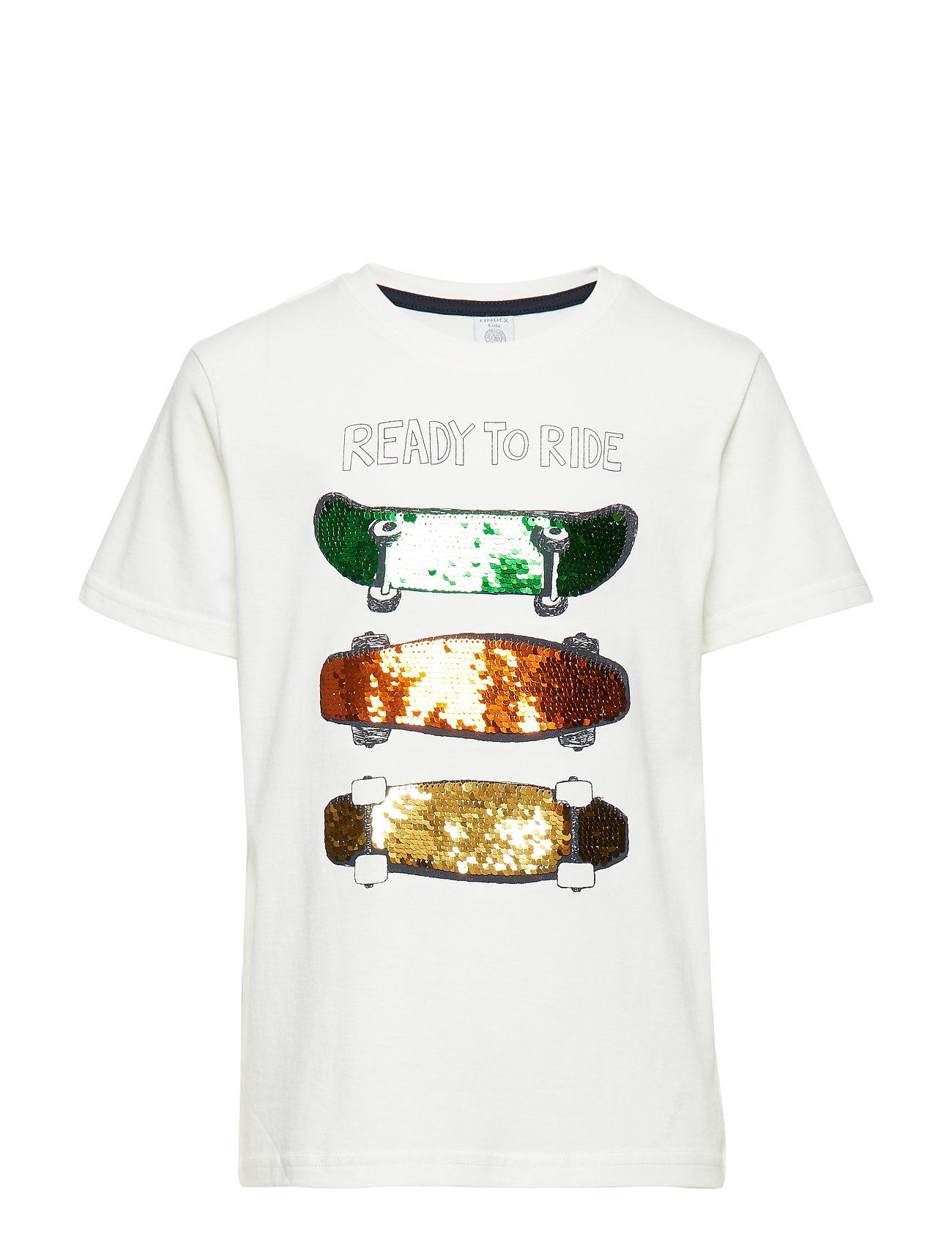 Image of White T-Shirt With Skateboards And Reversible Sequins T-shirt Hvid Lindex (3212176143)