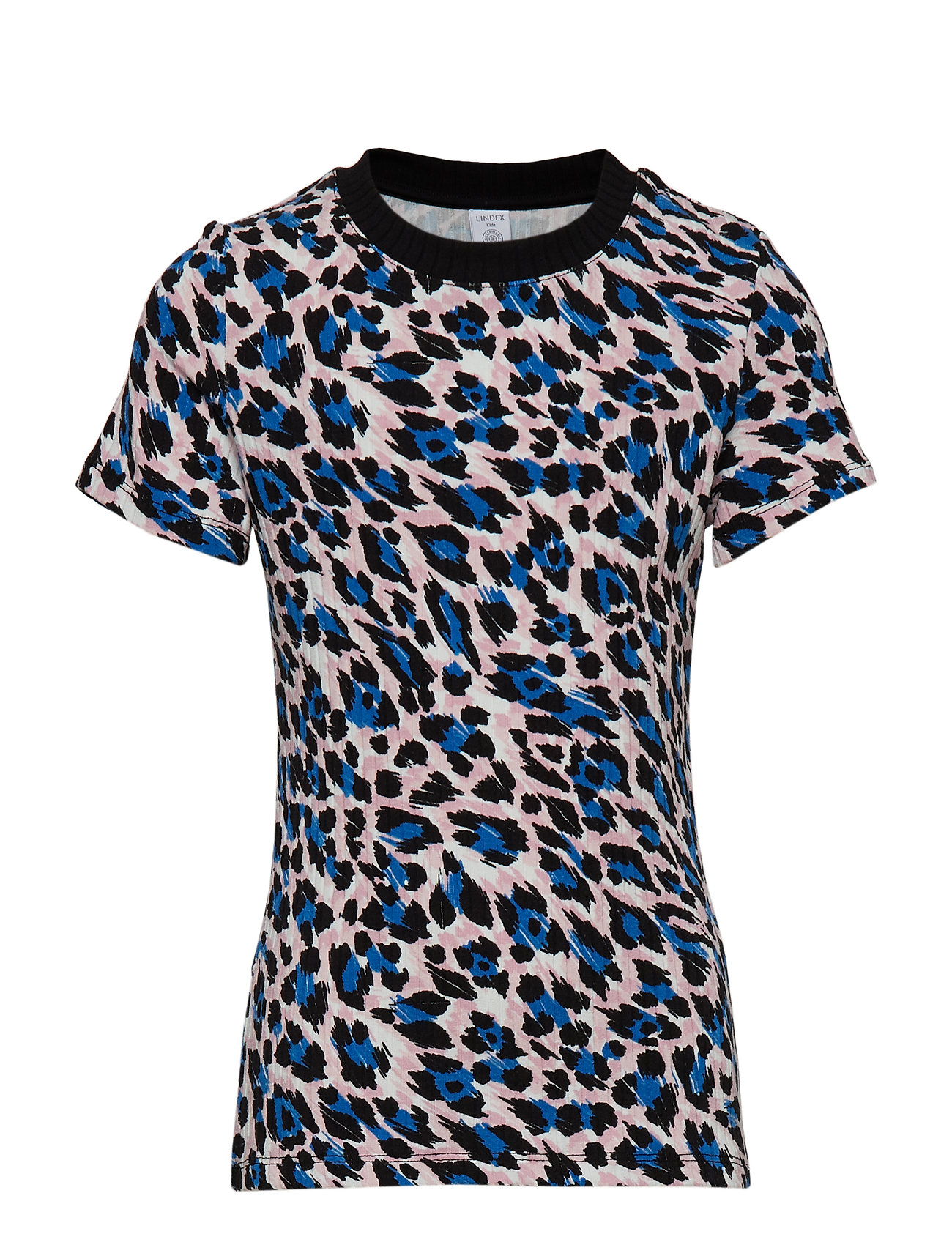 Lindex Ribbed top with leopard print - BLUE