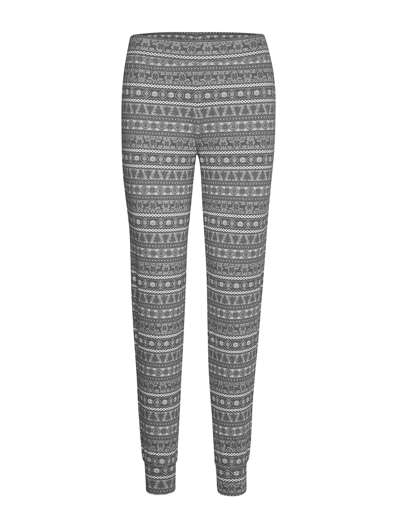 Lindex Night Trousers Fair isle - LIGHT GREY MELANG