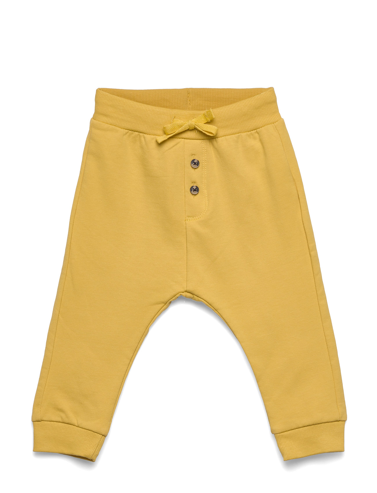 Lindex Trousers solid buttons front - DUSTY YELLOW