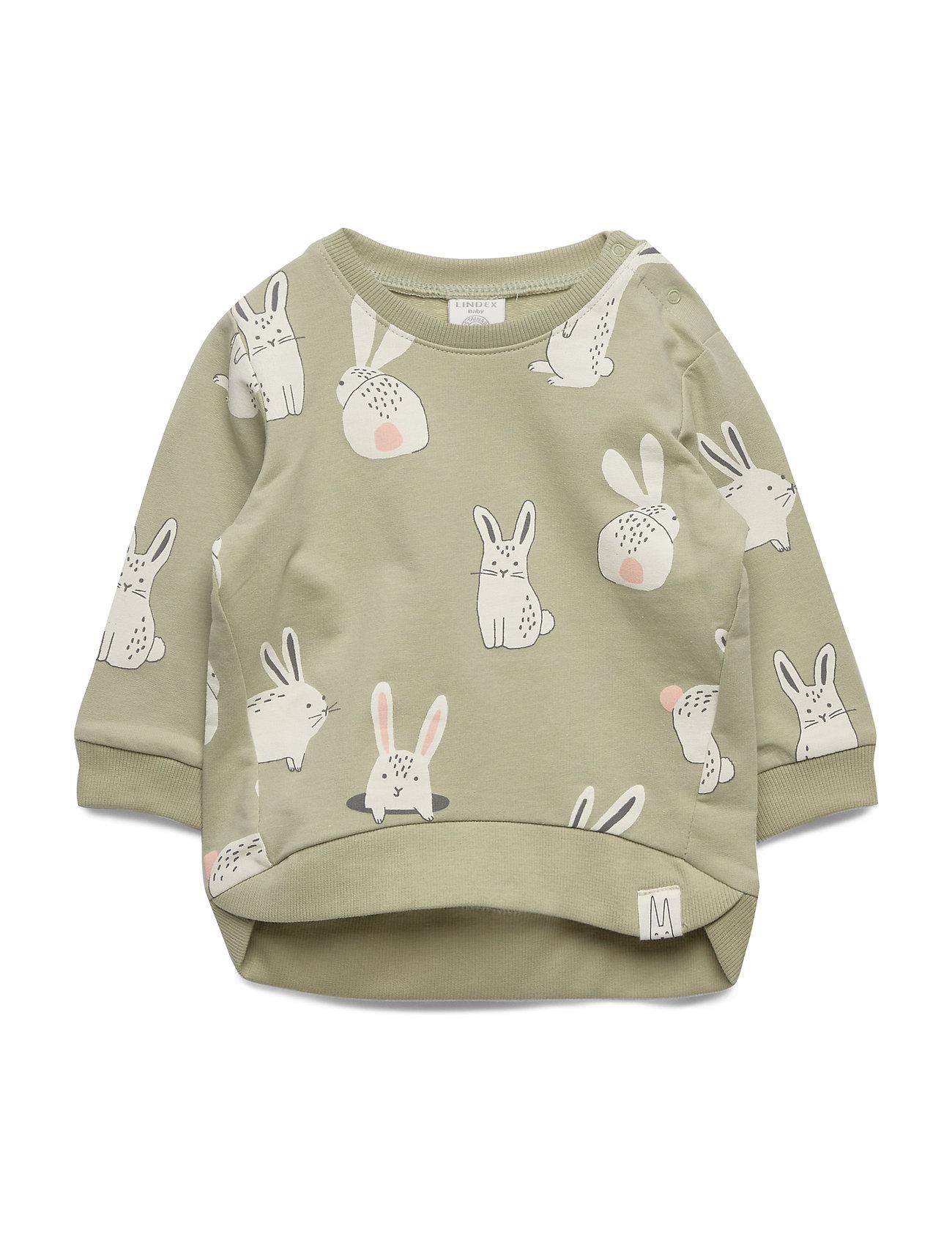 Lindex Sweater aop rabbit - DUSTY GREEN