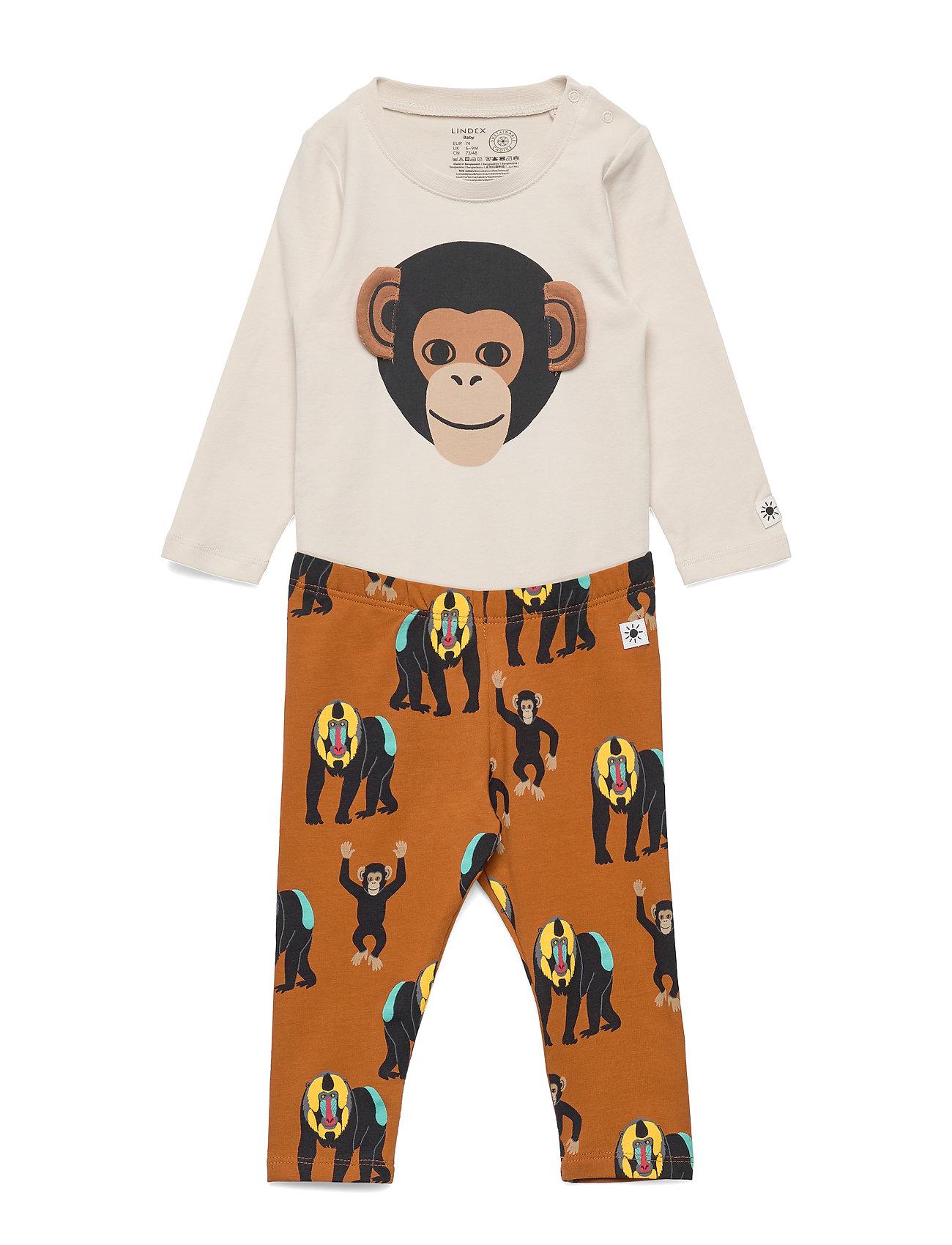 Lindex Set Body Monkey aop - BROWN