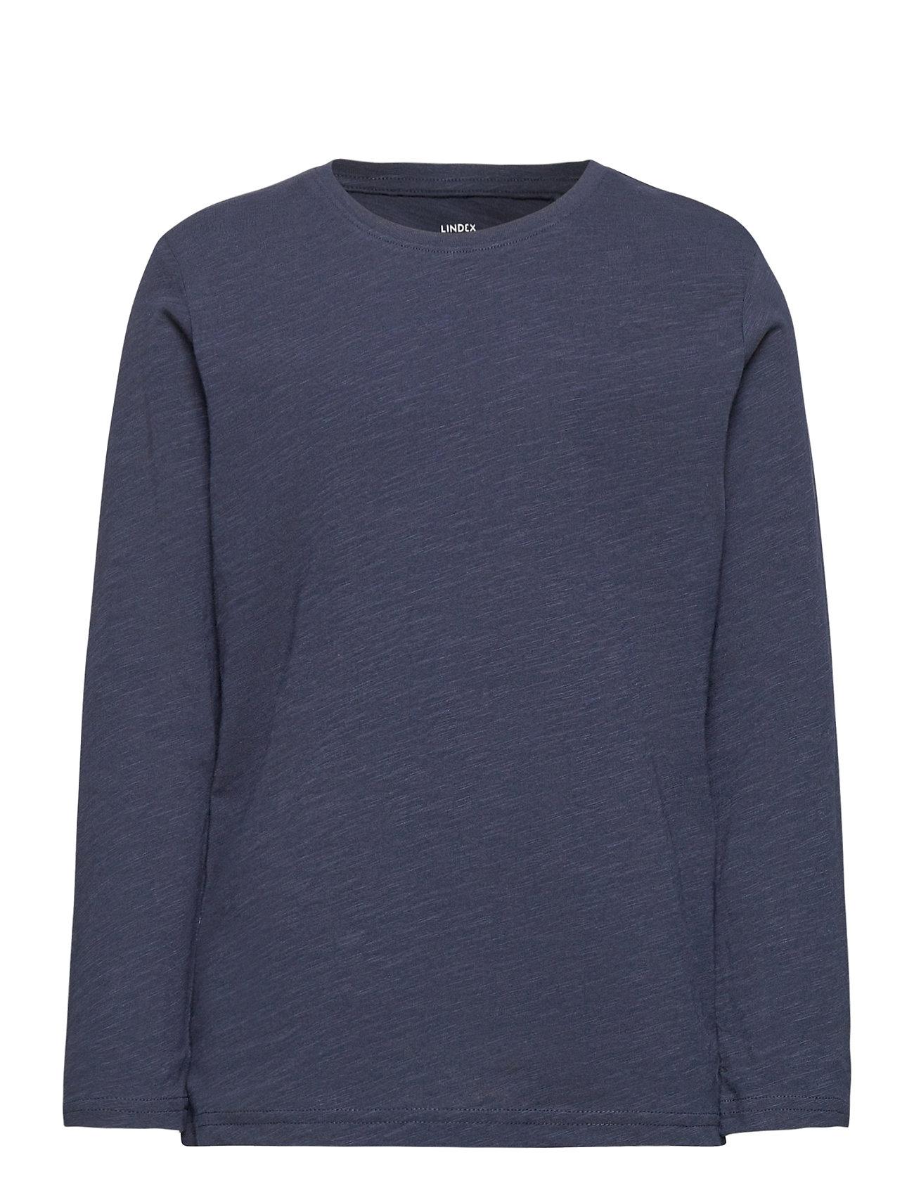 Top Ls Basic Slub Langærmet T-shirt Blå Lindex