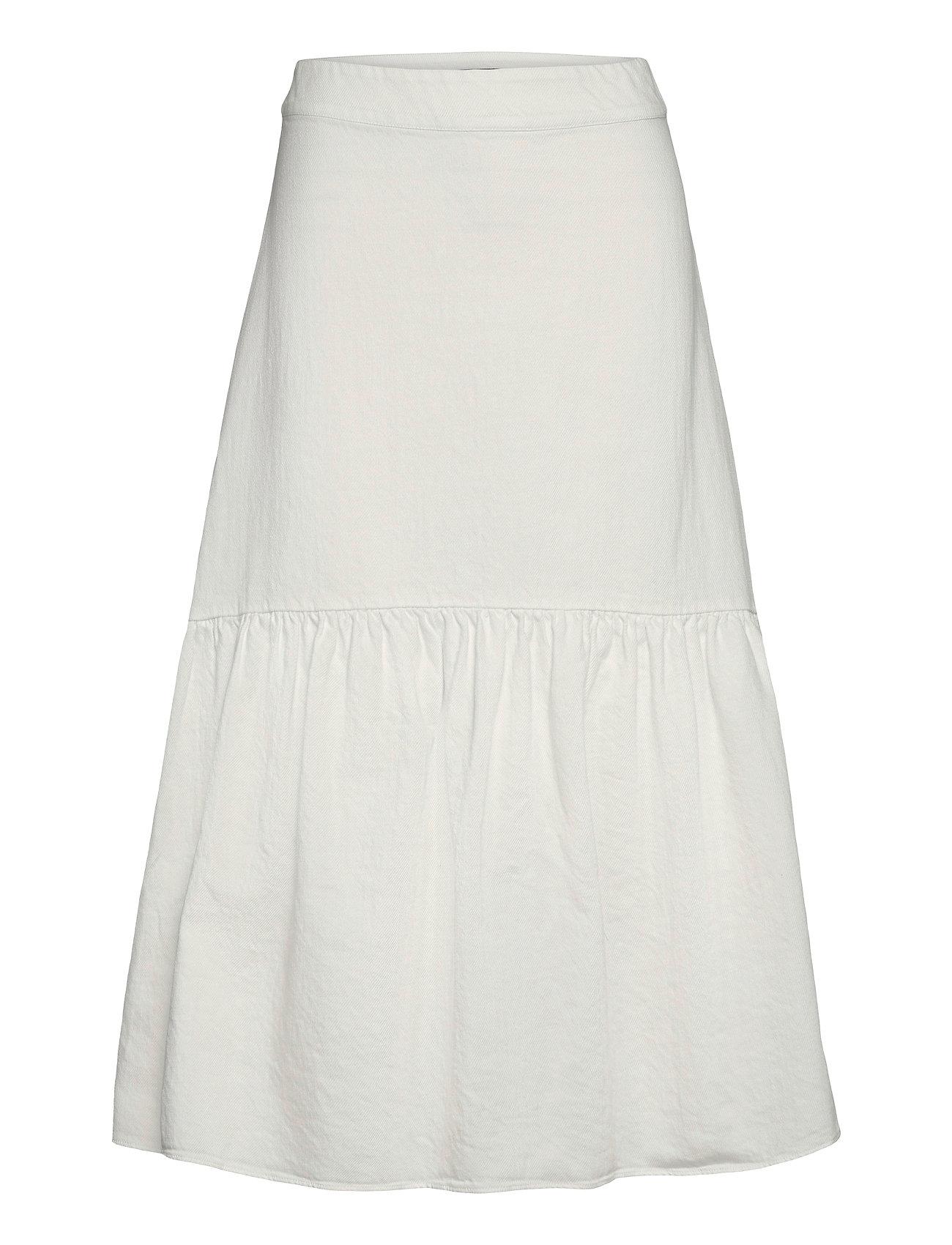 Skirt Florence Knælang Nederdel Hvid Lindex