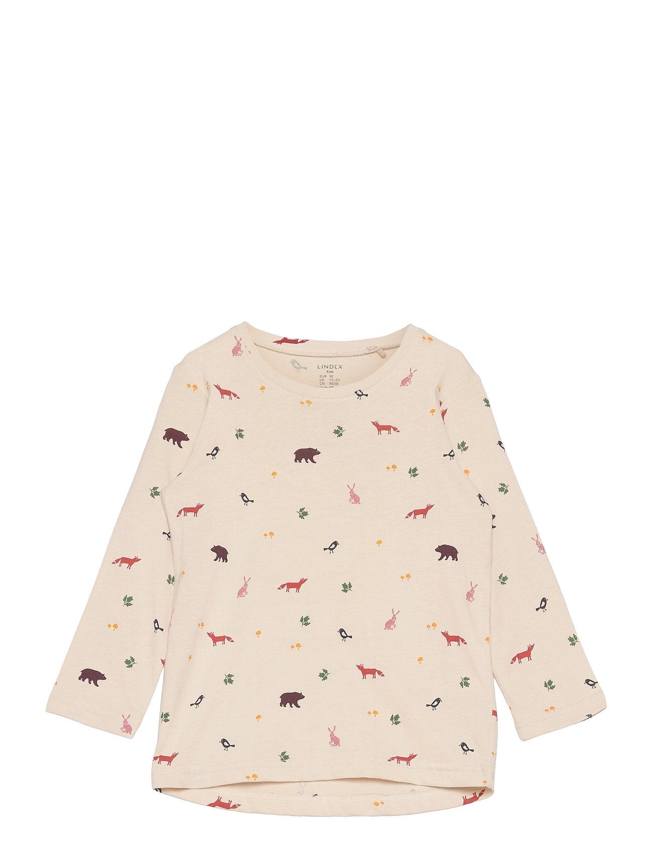 Top L S Basic Ao Print Langærmet T-shirt Beige Lindex
