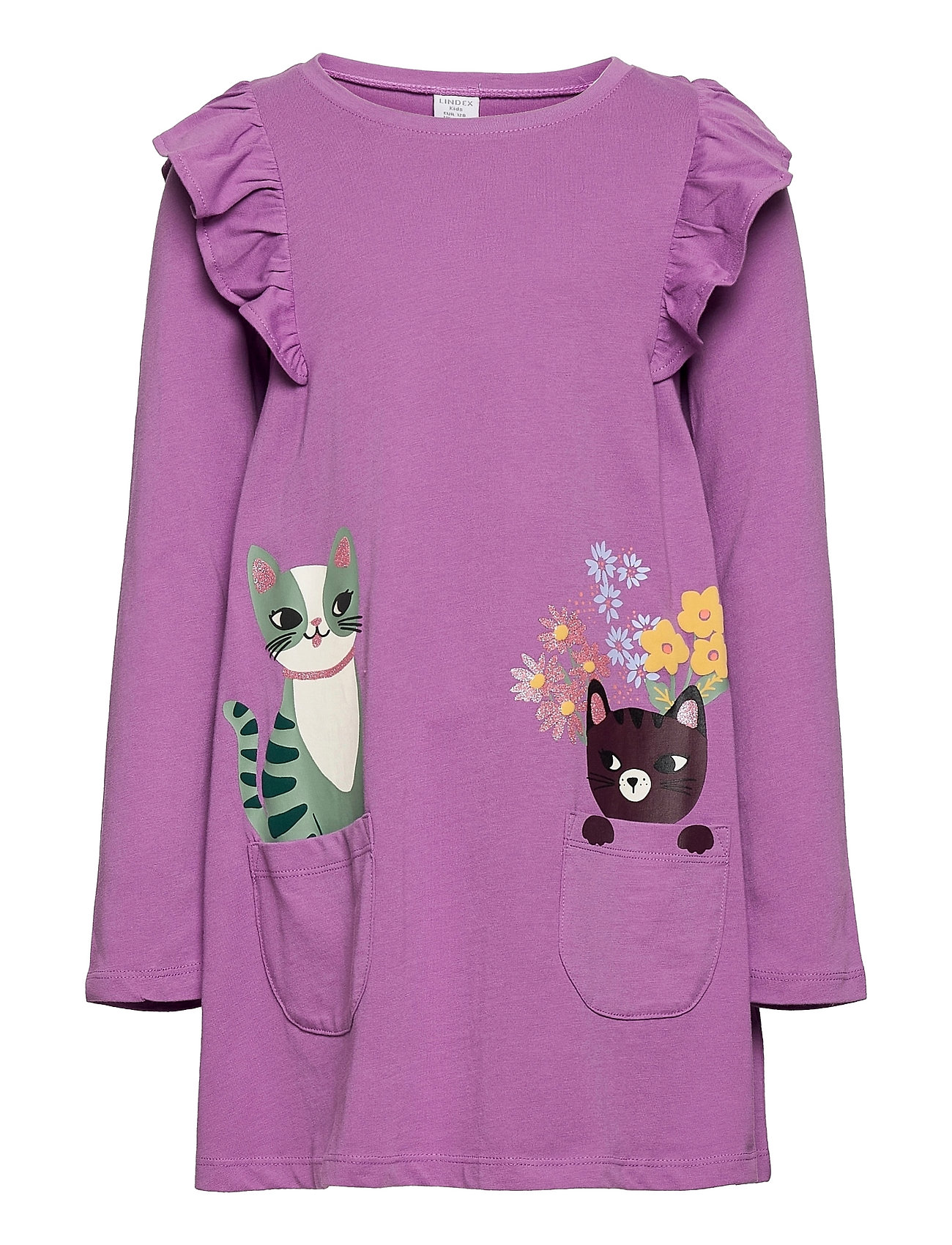 Top Long A Line Cats In Pocket Bluse Tunika Lilla Lindex