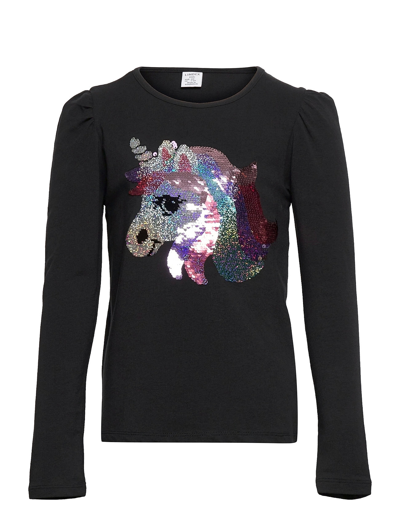 Top Pufflseeve Unicorn Flip Se Langærmet T-shirt Sort Lindex