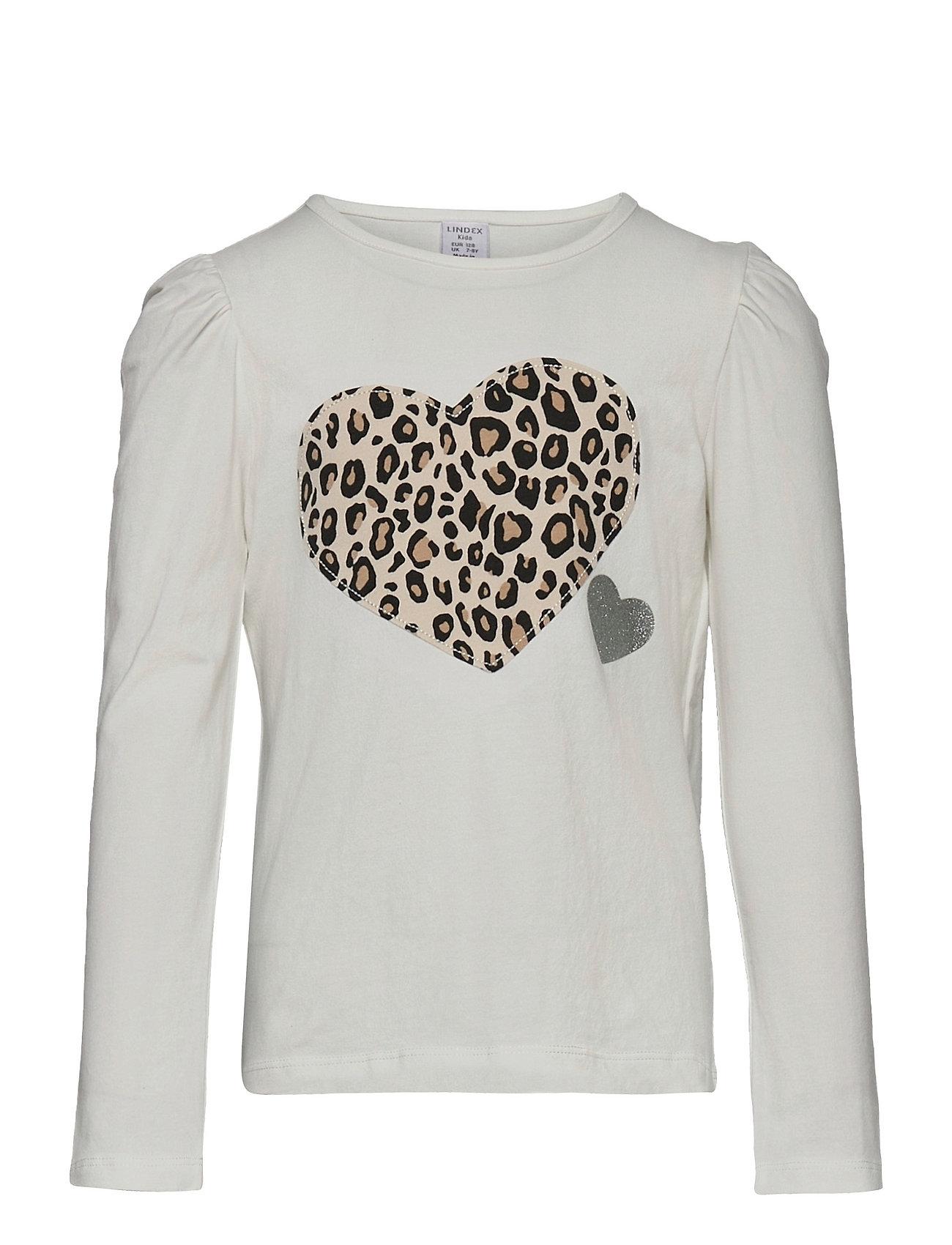 Top L S Leo Applique Langærmet T-shirt Hvid Lindex