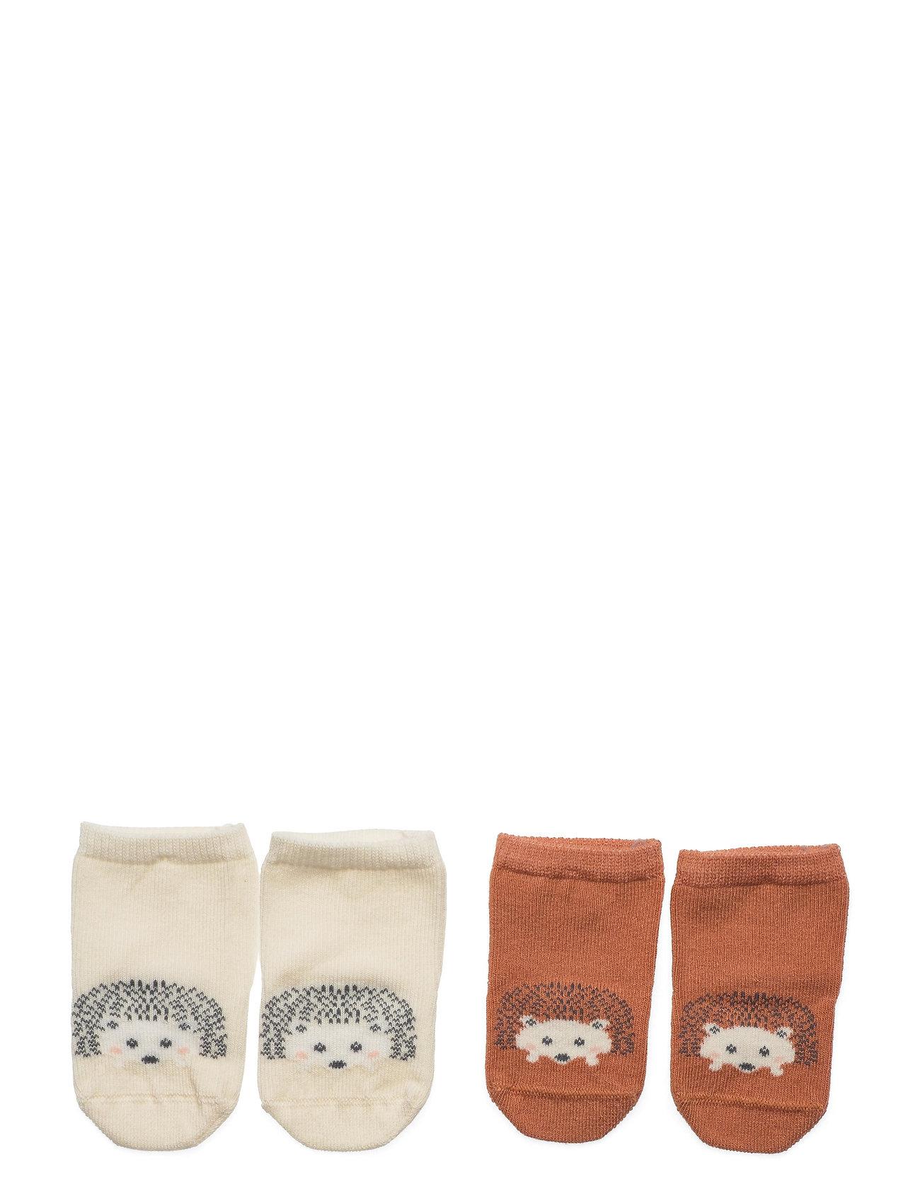 Lindex - Sock 2p Baby hedgehog - skarpetki - brown - 0