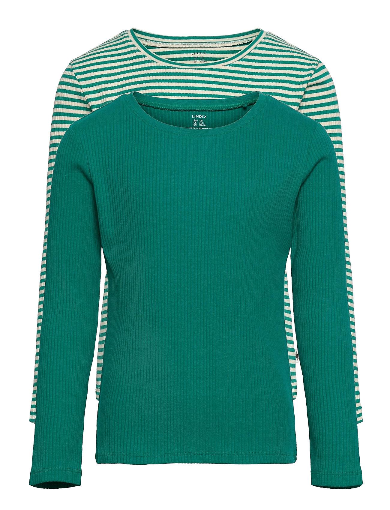 Top Basic Rib Y D Solid 2 Pack Langærmet T-shirt Grøn Lindex
