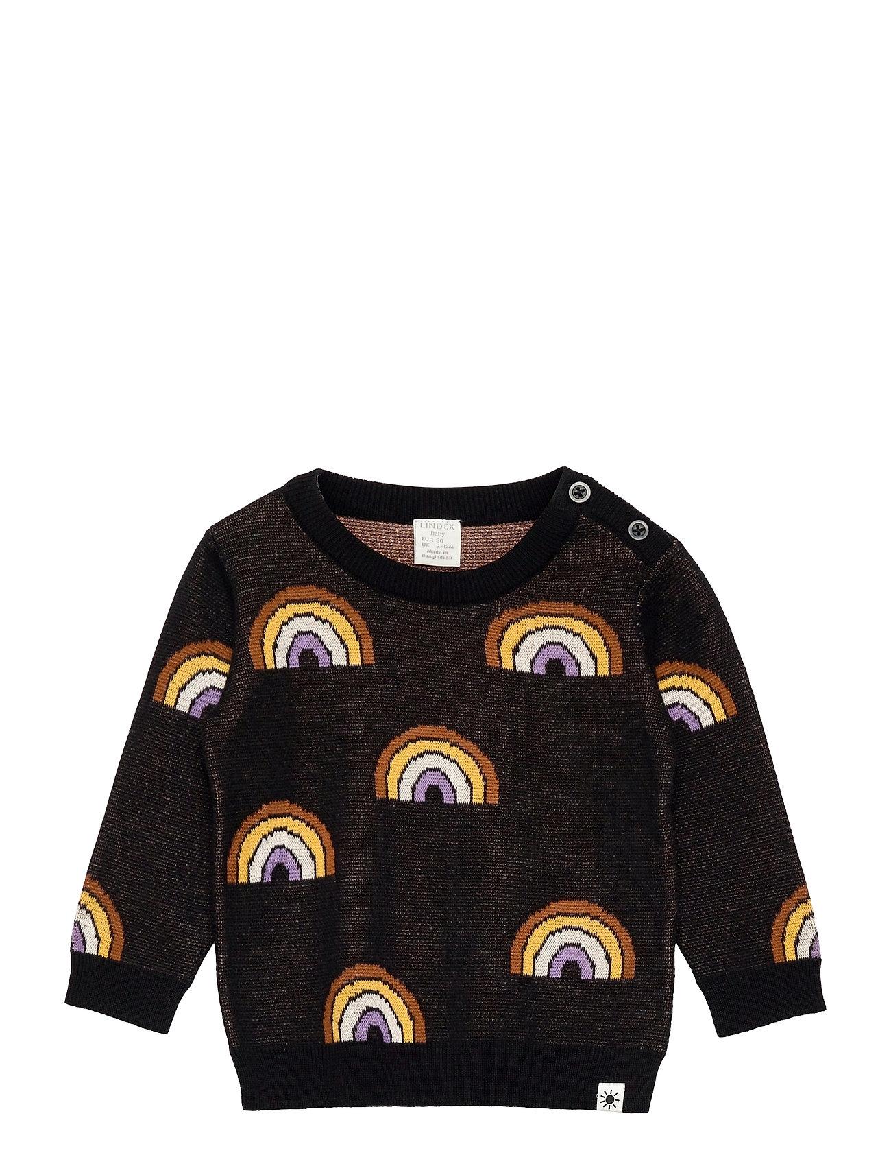 Sweater Knitted Intarsia Rainb Sweatshirt Trøje Sort Lindex